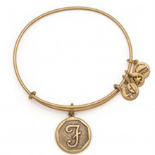 Alex and Ani F Initial Bangle Russian Gold