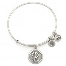 Alex and Ani R Initial Bangle Russian Silver