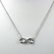 "Sterling Silver and Cz's Infinity 16"" Necklace"
