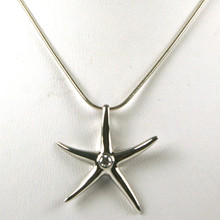 Sterling Silver Starfish with CZ Necklace