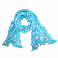 Turquoise with Pink and White Starfish Scarf