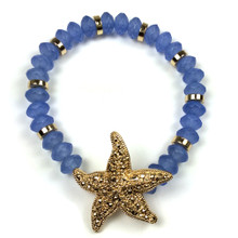 Periwinkle and Gold Starfish Fashion Bracelet