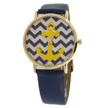 Navy Chevron with Yellow Anchor Watch