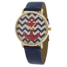 Navy Chevron with Red Anchor Watch