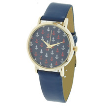 Navy with Red and White Anchors Watch