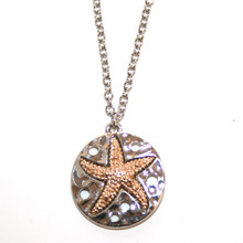 Silver Tone Sand Dollar with Gold Tone Starfish Necklace
