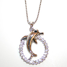 Silver Tone Dolphin in CZ Circle Necklace.