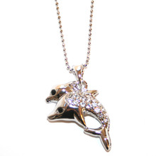 Silver Tone Double Dolphin with CZ Necklace.