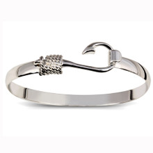 Sterling Silver Thick Band Fish Hook Bangle