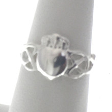 Sterling Silver Claddagh Ring with Woven Band