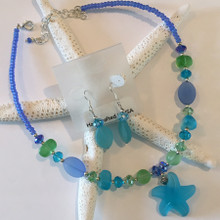 Sea Glass Inspired  Necklace and Earring Set 2