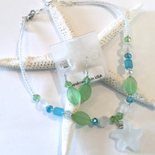 Sea Glass Inspired Necklace and Earring Set 3