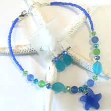 Sea Glass Inspired Necklace and Earring Set 4