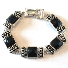 Black Facets 2 Fashion Bracelet with Magnetic Clasp