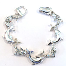 Dolphin with Crystals Fashion Bracelet with Magnetic Clasp