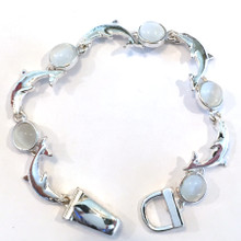 Dolphin with White Disks Fashion Bracelet with Magnetic Clasp