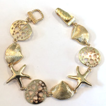 Gold Tone Multi Shell Fashion Bracelet with Magnetic Clasp