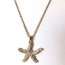 Gold Tone Starfish and Crystal Necklace 18""