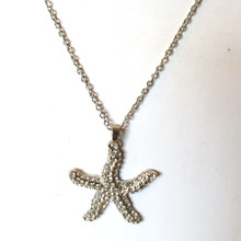 Silver Tone Starfish and Crystal Necklace 18""