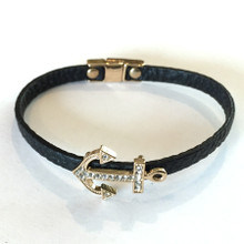Black Anchor Pleather Fashion Bracelet with Magnetic Closure