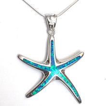 Sterling Silver Opal Inlay Large Starfish Necklace