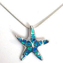 Sterling Silver Opal Inlay Medium Starfish Necklace