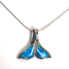 Sterling Silver Opal Inlay Whale Tail Necklace