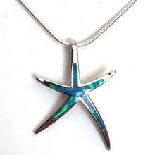 Sterling Silver Opal Inlay Large Skinny Starfish Necklace