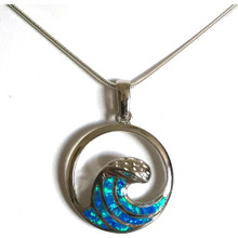 Sterling Silver and Opal Wave Necklace