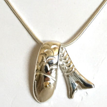 Sterling Silver and Brass Eye Fish Necklace