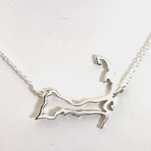 """Sterling Silver Cape Cod Outline Necklace 16"""""""