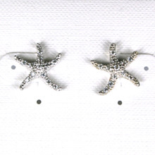 Sterling Silver with CZ Starfish Earrings