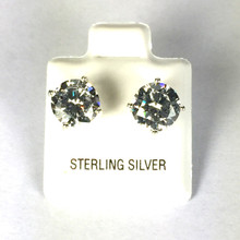 Sterling Silver 8 MM CZ Stud Earrings