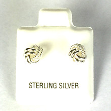Sterling Silver 1/2 Rope 1/2 Smooth Love Knot Earrings SMALL