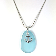 Sterling Silver Seaglass and Anchor Necklace