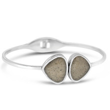 Silver Teardrop Bangle (Beaches of Cape Cod Sand)