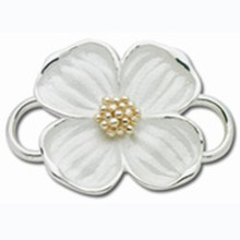 Convertible Sterling and 14K Gold Large Dogwood Clasp