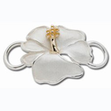 Convertible Sterling and 14K Gold Hibiscus Clasp