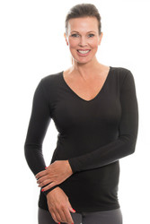 Black V-Neck Long Sleeve