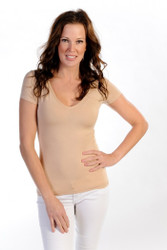 V-Neck, Short Sleeve, Natural