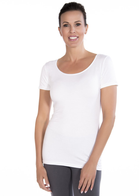 201 White Modest Scoop Short Sleeve. Also available in Black.