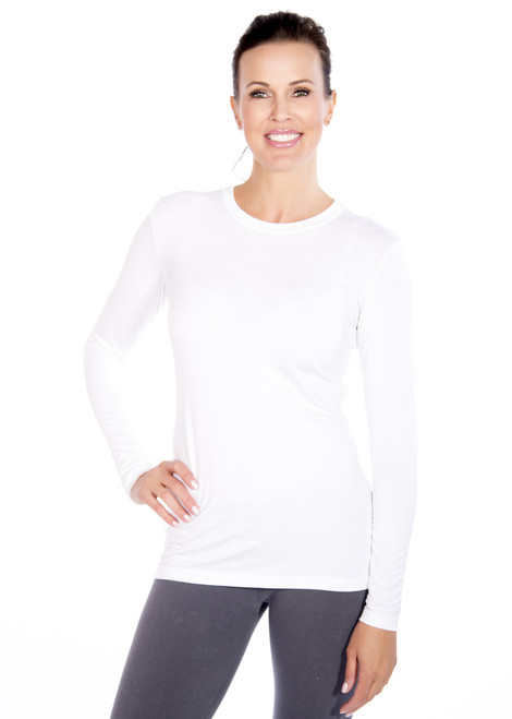 White Crew Neck Long Sleeve Top