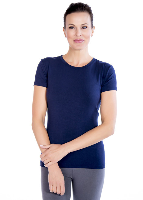 Navy Crew Neck Short Sleeve Top