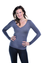 Slate Gray V-Neck Long Sleeve