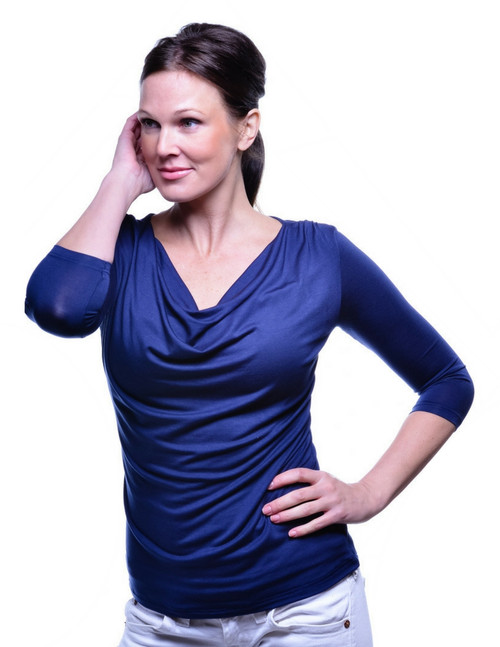 Droop Neck Navy. Also available in Black, White, Slate Grey, Fuchsia Purple and Chili Pepper Red.