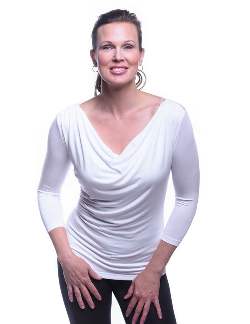 White Droop Neck 3/4th Sleeve Top