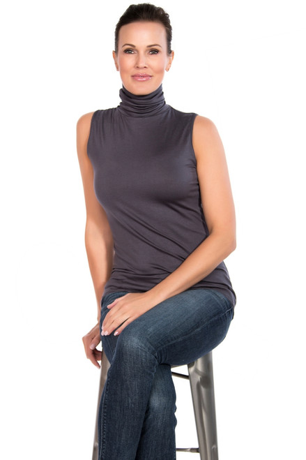 Slate Gray Tank Turtleneck with Jeans