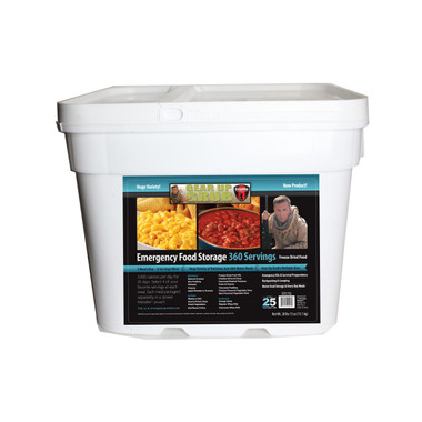 Food storage from Gear Up. Long term food storage that tastes delicious!  -360 Full Servings - 2,000 calories a day for 30 days for 1 Person -19 different meals to choose from - 6.5 Gal rugged & stackable, ez store™ container -$1.20 per serving