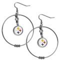 Pittsburgh Steelers NFL Rhinestone Hoop Dangle Earrings