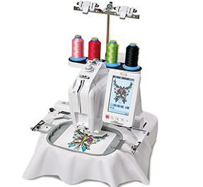 The Alliance single-needle, free-arm machine lets you embroider easily in tight quarters and even on three-dimensional projects. Its narrow embroidery arm and specially designed small hoops and frames take your embroidery places not possible with other machines—inside pockets, sleeves, even embroiderable stuffed animals!